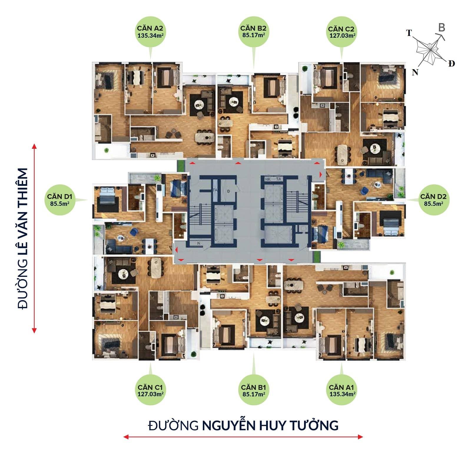 mặt bằng chung cư bohemia residence nguyễn huy tưởng
