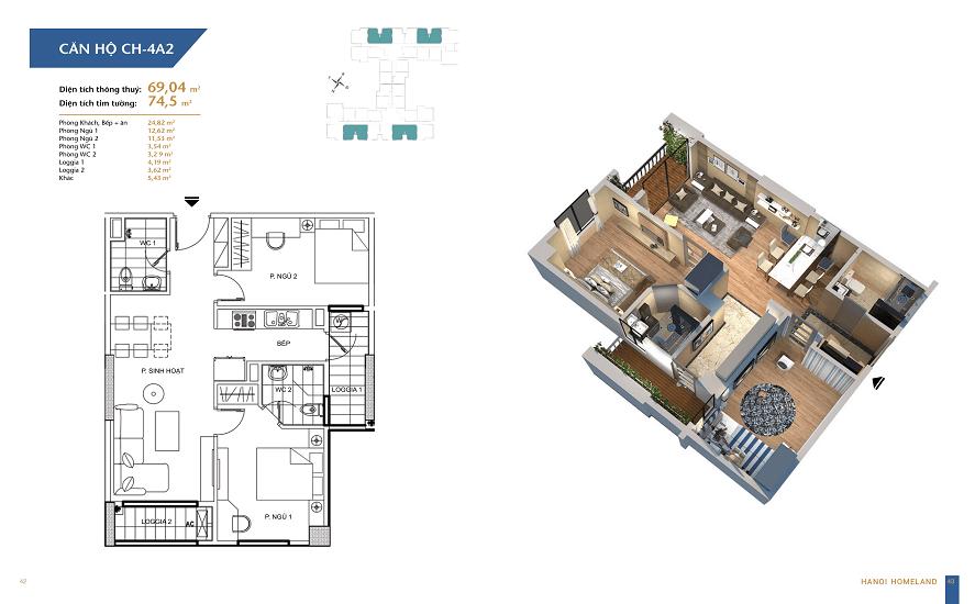 thiết kế căn hộ 69m2 chung cư homeland