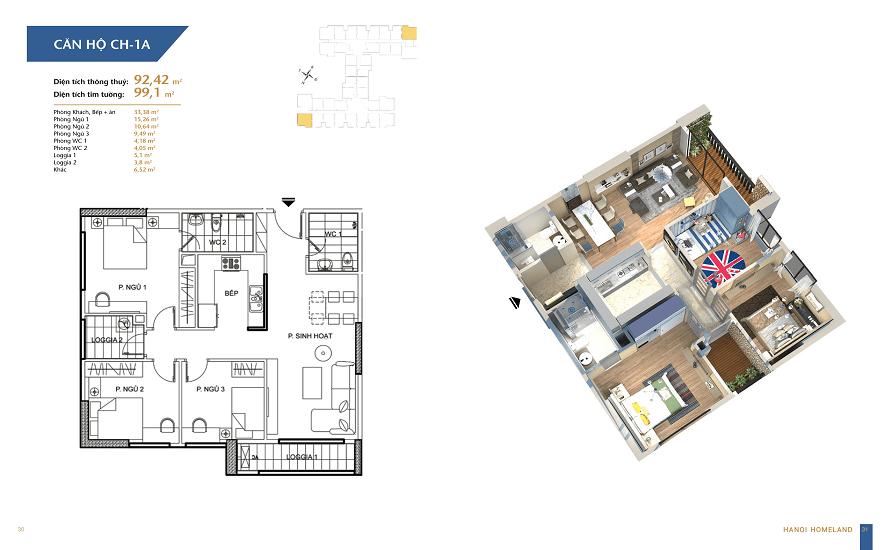 thiết kế căn hộ 92,42m2 chung cư hà nội homeland