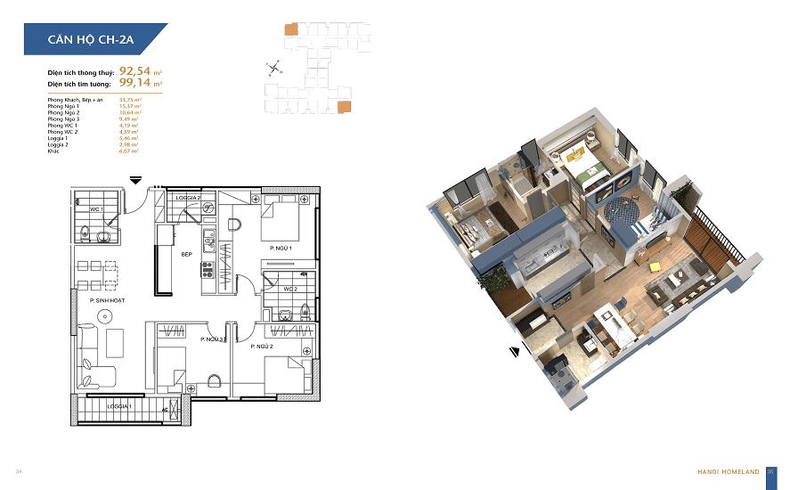 thiết kế căn hộ 92.5m2 dự án hà nội homeland