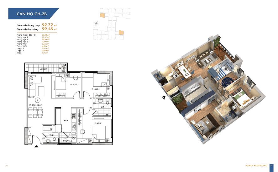 thiết kế căn hộ 92.72 hà nội homeland