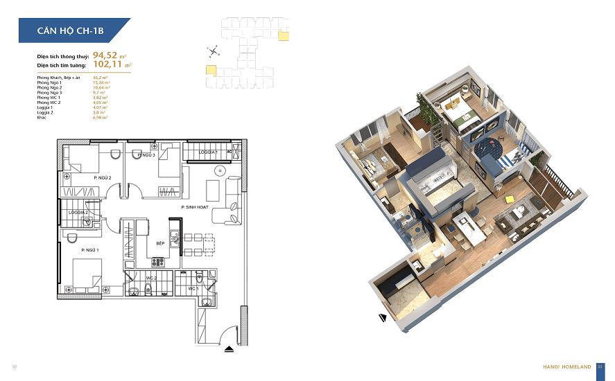 thiết kế căn 94.52m2 chung cư hà nội homeland