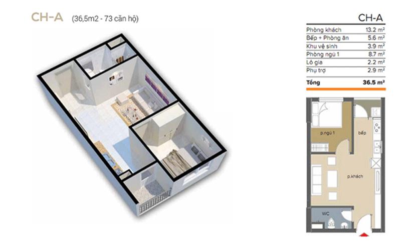 căn 36 m2 chung cư ecohome 3 đông ngạc
