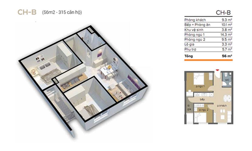 căn 56m2 chung cư ecohome 3 đông ngạc