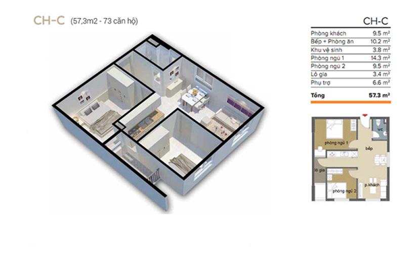căn 57m2 chung cư ecohome 3 đông ngạc