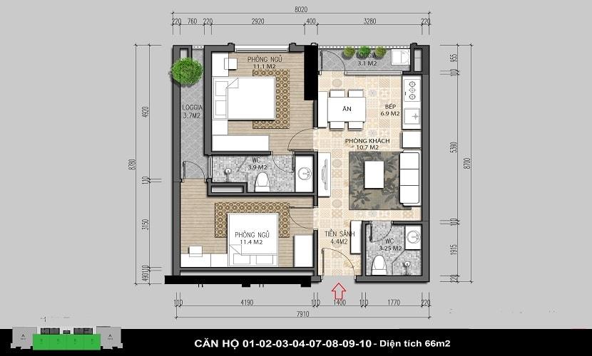 căn 66m2 chung cư iris garden