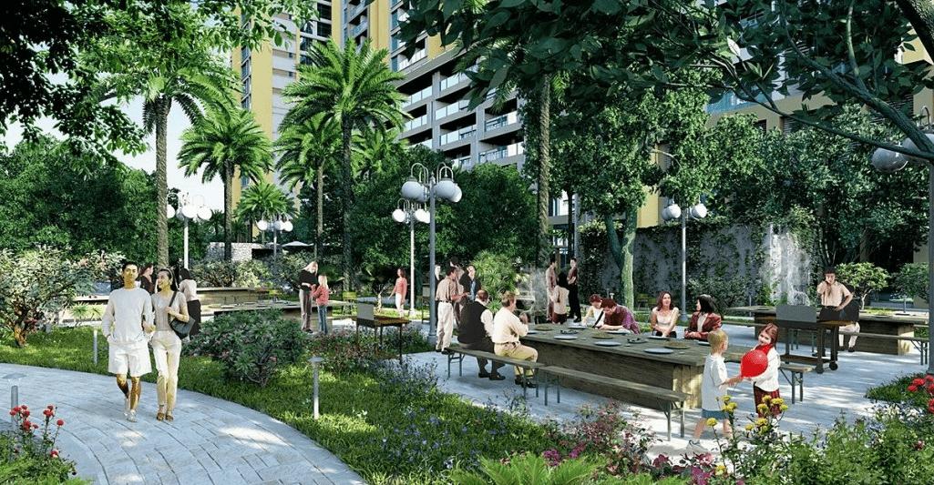 vườn dạo bộ chung cư luxury park view