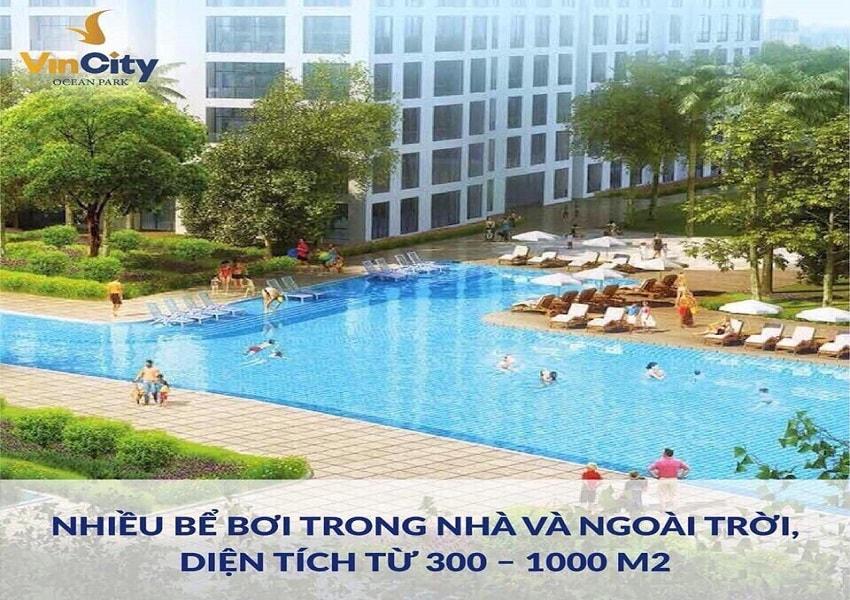 bể bơi ngoài trời ở chung cư vincity gia lâm