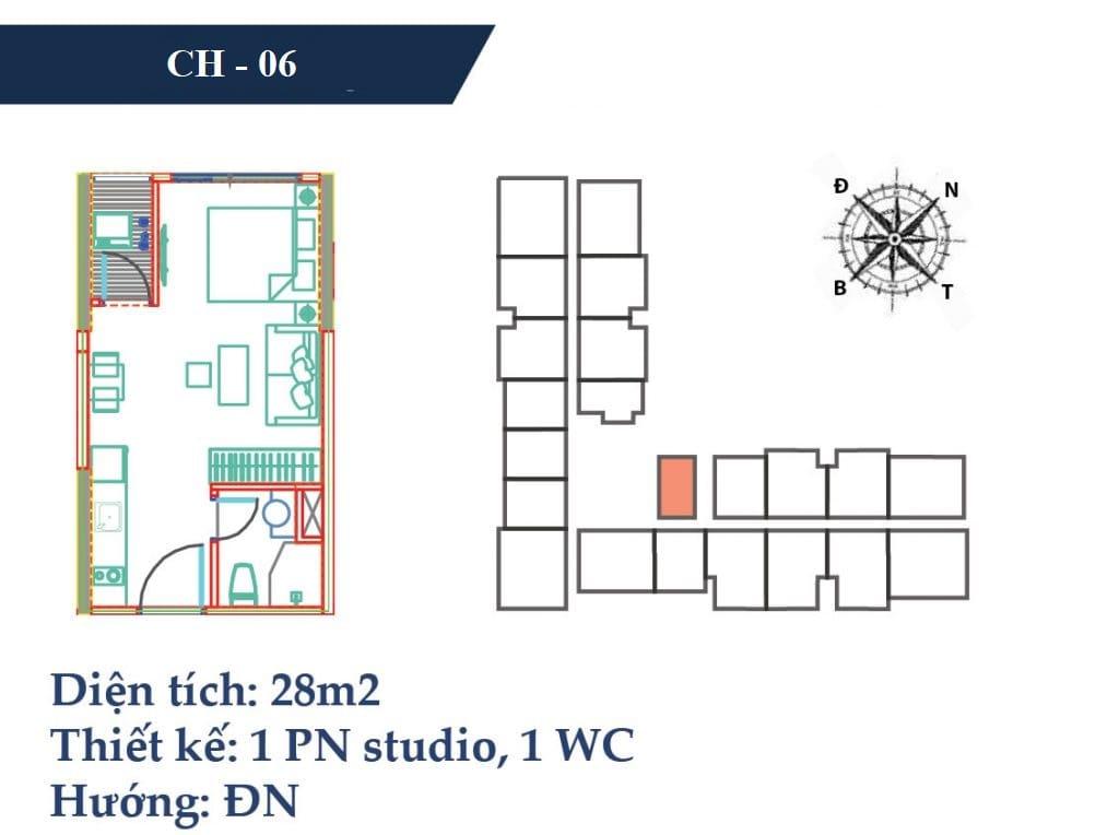 thiết kế căn hộ 28m2 chung cư vincity gia lâm