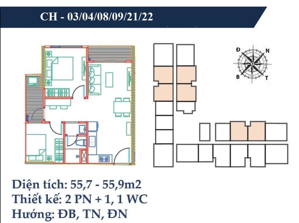 thiết kế căn hộ 55m2 chung cư vincity gia lâm