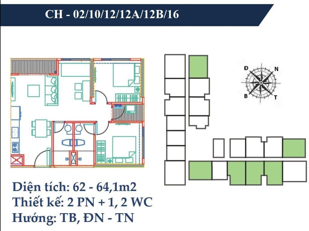 thiết kế căn 62m2 chung cư vincity gia lâm