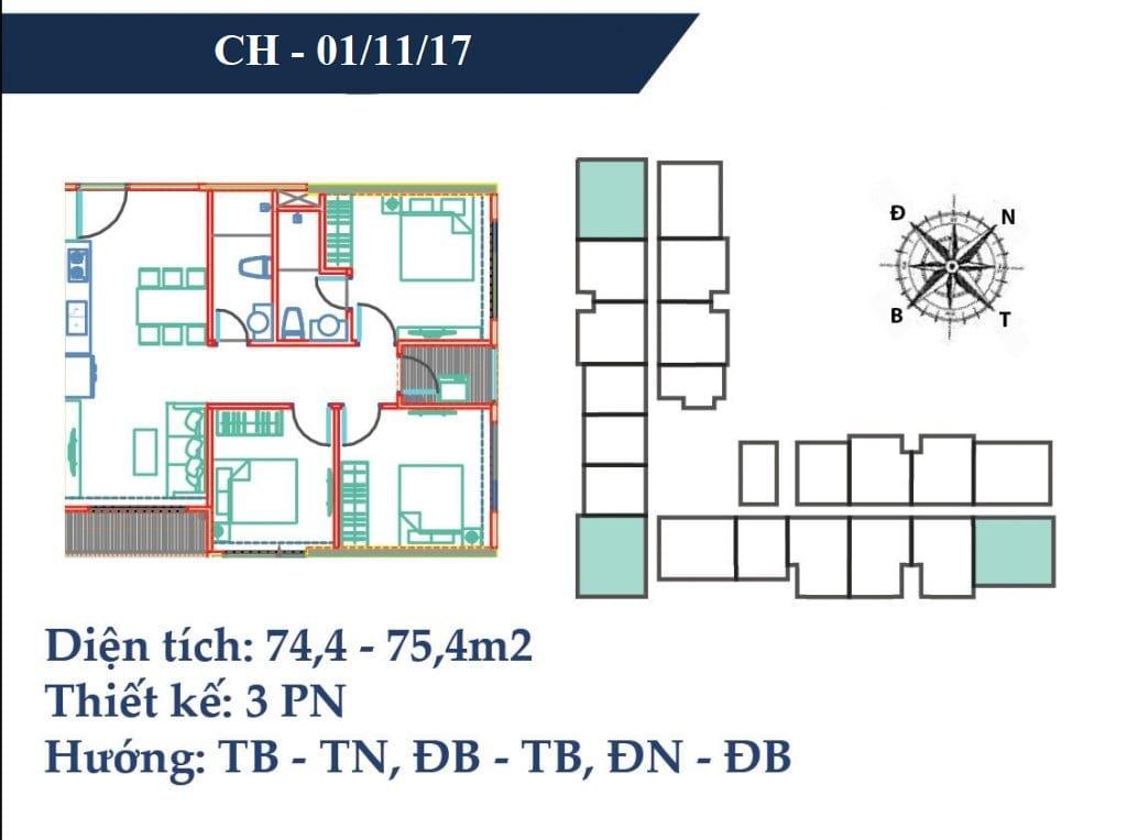 thiết kế căn hộ 75m2 chung cư vincity gia lâm