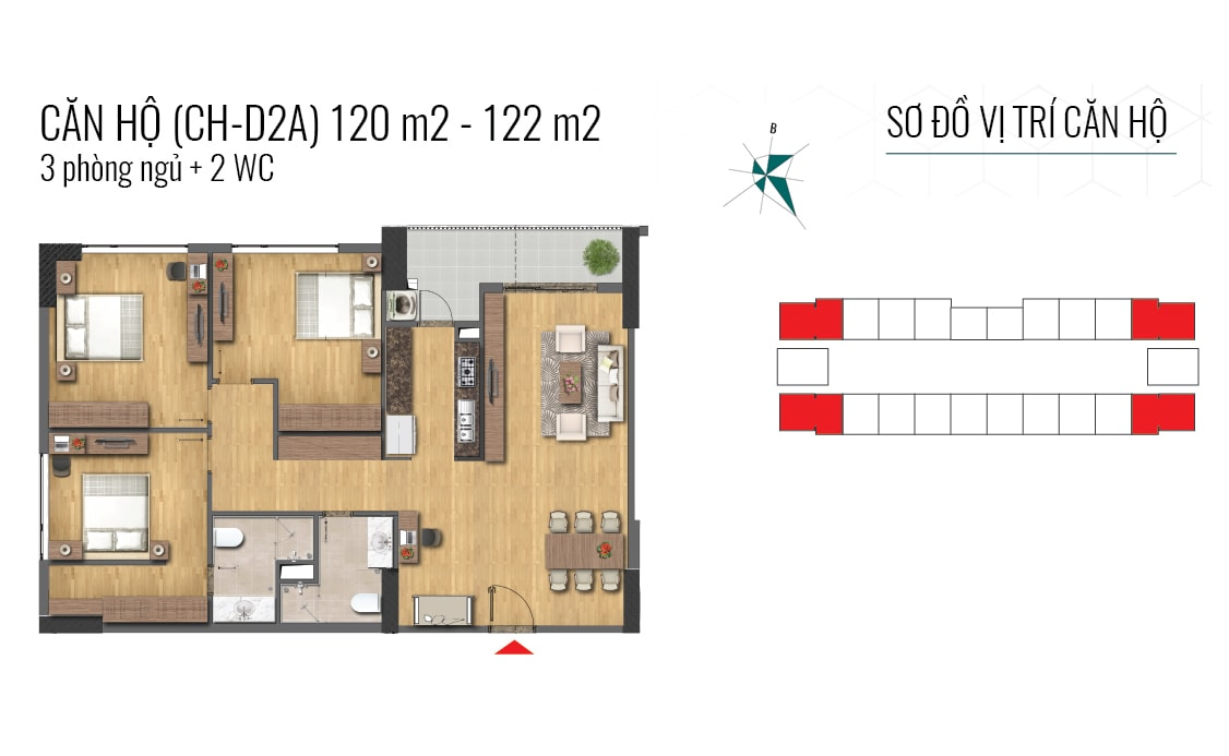 thiết kế căn hộ 120m2 và 122m2 epic home