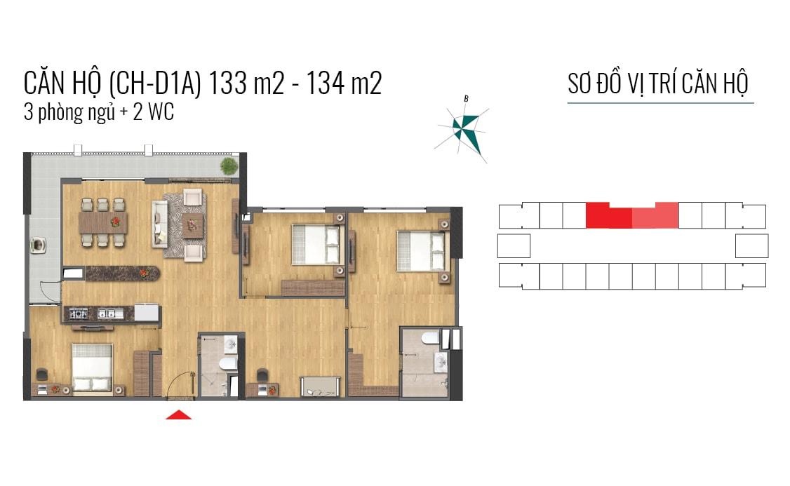 thiết kế căn hộ 133m2 và 134m2 epic home