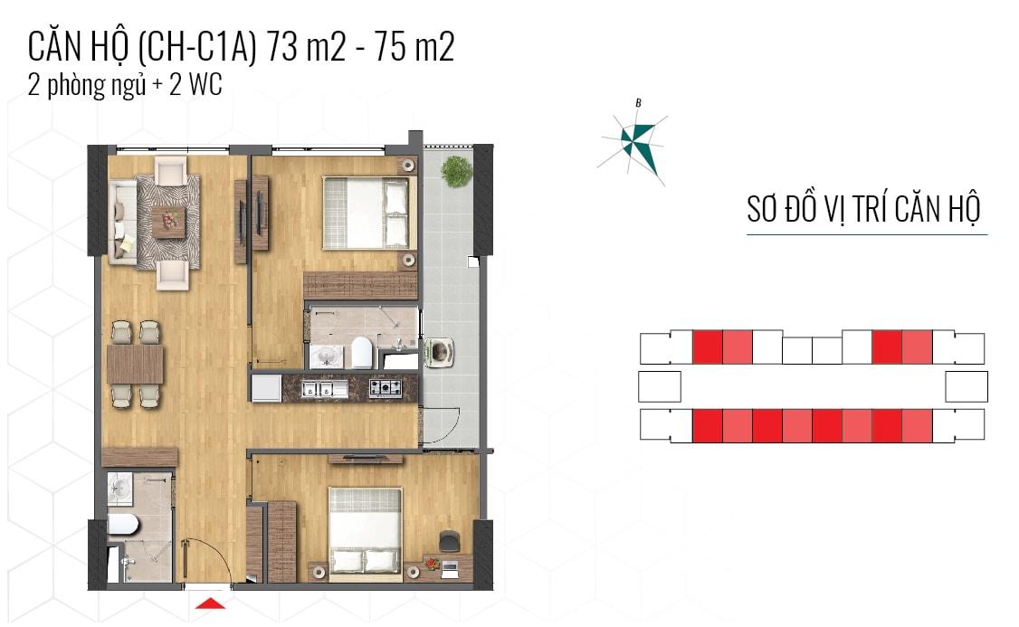 thiết kế căn hộ 73m2 và 75m2 epic home