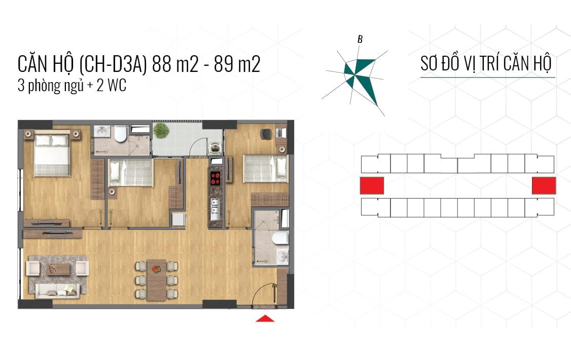 thiết kế căn hộ 88m2 và 89m2 epic home