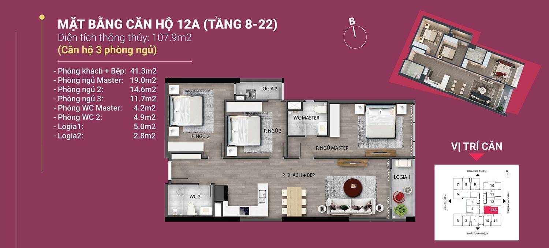 căn 12a diện tích 107.9m2 the nine phạm văn đồng tầng 8 đến 22