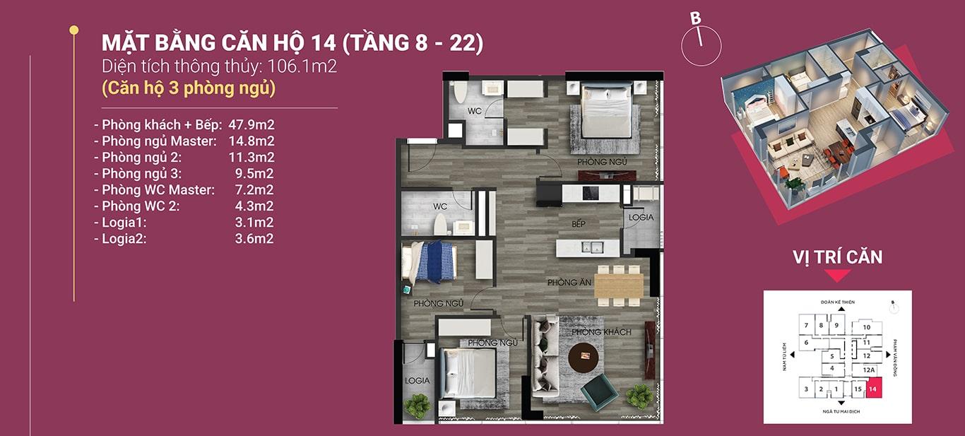 căn hộ 14 diện tích 106.2 m2 the nine phạm văn đồng