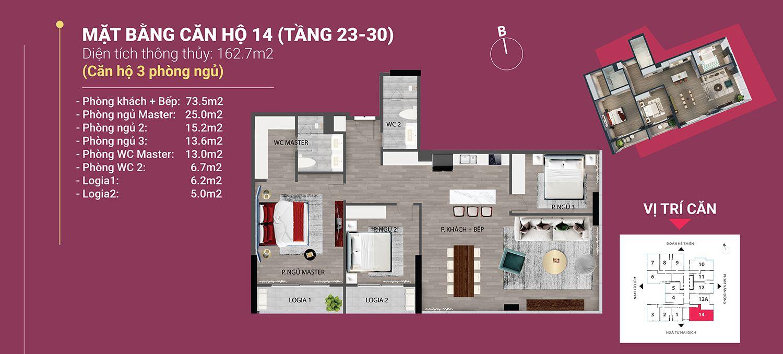 căn 14 diện tích 162.7 m2 the nine phạm văn đồng