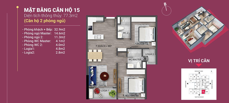 căn hộ 15 diện tích 77.3 m2 the nine phạm văn đồng